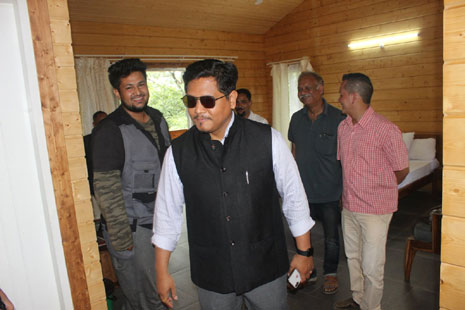 Honourable Chief Minister, State of Meghalaya (India) inspecting a tourist cottage made by using Hassalacher Duo Beams during  2018.
